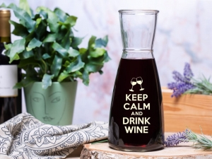 Keep calm and drink wine - karafka do wina nalewki drinków z grawerem na prezent walentynki
